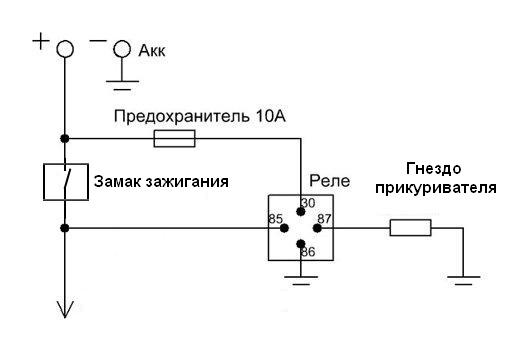 Схема подключения прикуривателя, через реле, с управляющим плюсом с замка зажигания.